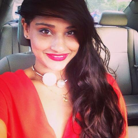 kritieeoh kritie sood red dress Chanel necklace pearls indian girl beautiful hair pretty car selfie